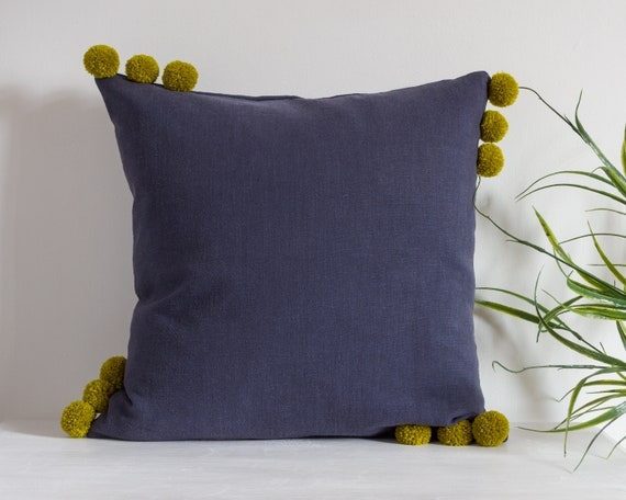 Navy Blue Pillow Cover with Pom Poms