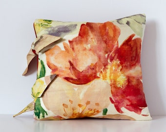 Red and Orange Floral Cushion, Silk Pillow Cushion, Decorative Pillow, Floral Cushion, Square Cushion, 12-inch Pillow, Home Decor