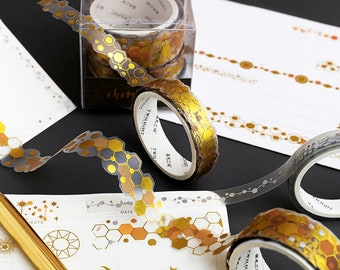 Gold Honeycomb Washi Tape Gold Sparkle Christmas Tape 15mm x 10 Meters