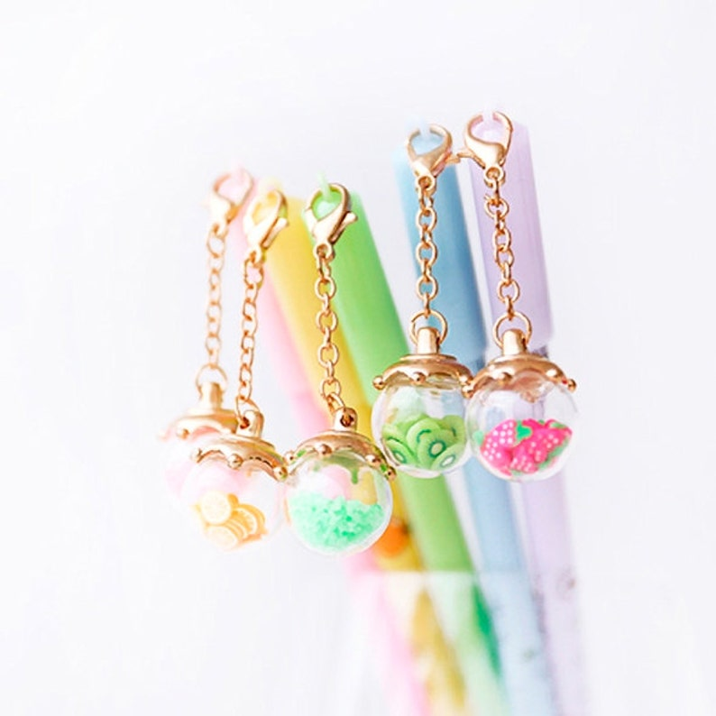 Kawaii Pens with Fruit Crystals Pendant Cute Stationery Gift image 0