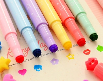 Kawaii Stamp Set of Markers, Cute Stationery, Drawing Coloring Supplies, Marker Pen, Scrapbook Supplies