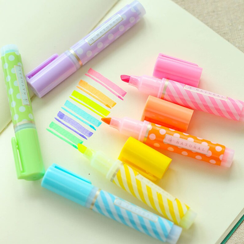 Markeerstiften Set Candy Color Markeerstift Schattige Schoolbenodigdheden Studie Studeren Markeerstift Pennen Planner Pennen Kogel