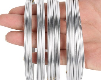Pack Of 4 Rolls Each Roll 16 4 Feet Aluminum Craft Wire  Mm 1  Mm And 2 5 Mm In Thickness Bendable Metal Wire For Diy