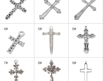 10pcs Cross Pendant-DIY Accessory-For Making Necklace,key chain ,bracelet supplies-Great Gift Idea