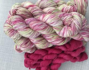 Where the wild roses grow' inspired hand dyed yarn (75 super wash merino 25% nylon) 4 ply / fingering weight