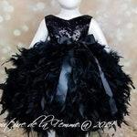 Elegant Black Flower Girl Dress with Sequin Bodice and Black Feathers, Black Flower Girl Dress for Toddlers, Black Pageant Dress, Weddings