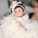 Crystal Embellished Baby Girls Special Occasion Dress-Baptism Dress for Baby Toddler Girl-Infant Baby Girl Feather Dress-Baby Pageant Dress