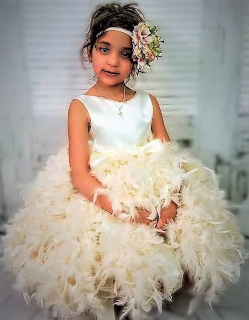 d15fe619cc9 TODDLER Flower Girl Dress,ivory flower girl dress,Wedding Dress for  Girls,cream flower girl dress,Toddler Birthday Dress-Girls Feather Dress