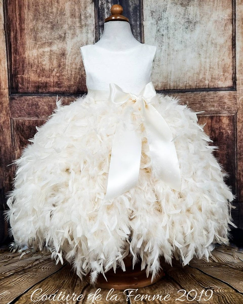 230eda02225 Off White Feather Flower Girl Wedding Dress, Ivory Flower Girl Dress,  Communion Dress, Baptism Dress, Toddler Flower Girl Dress