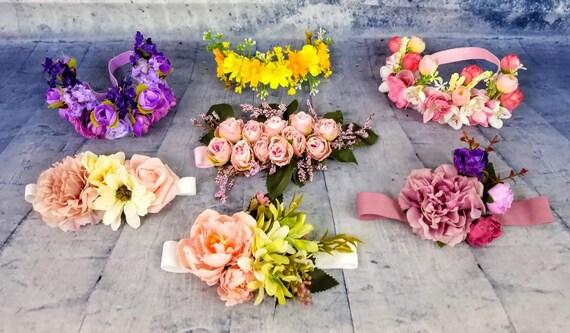 fille fleur mauve nue Couronne, bandeau mauve fleur fille, bandeau floral, fille de fleur mauve vintage Couronne, Couronne florale nude blush