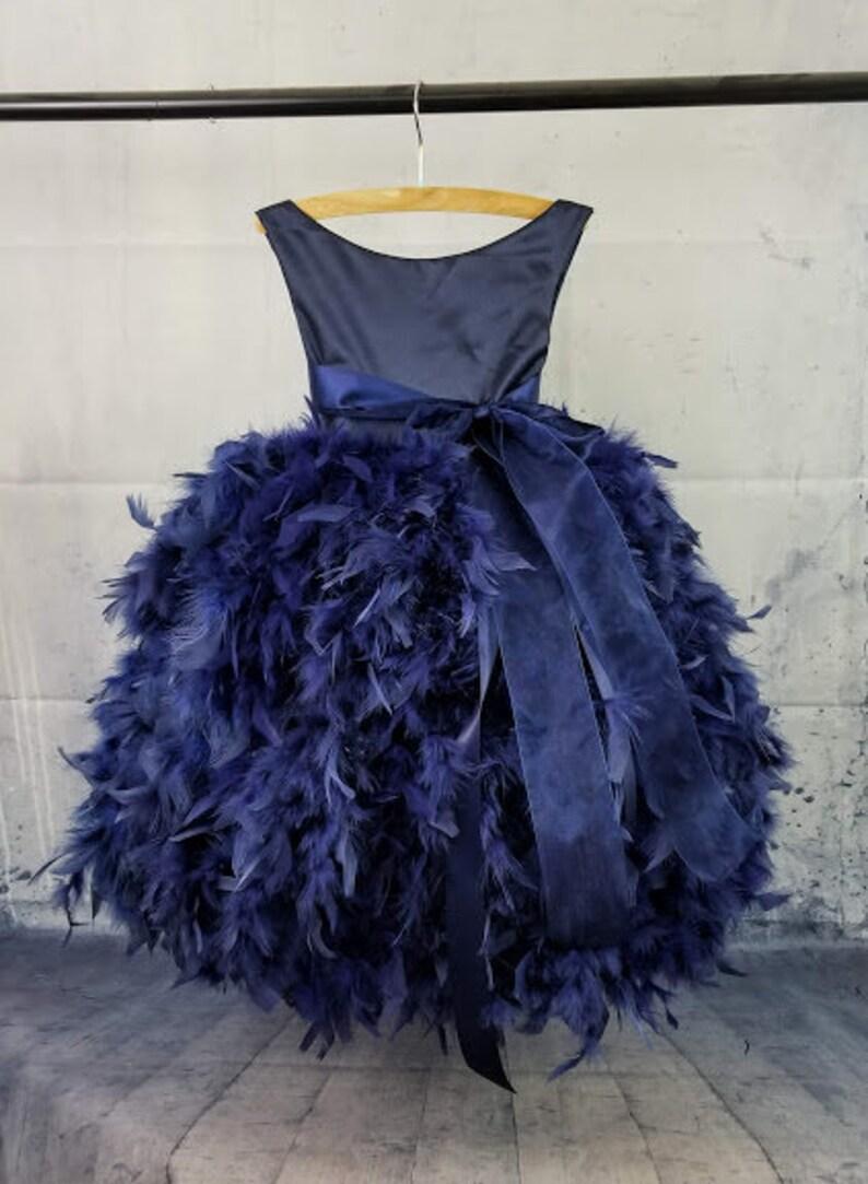 f50aa18697f Midnight Blue Flower Girl Dress Baby Girl Toddler Little