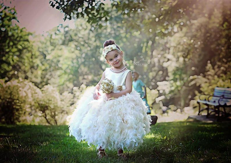 bridesmaid dress Stunning custom made ivory flower girl dress,toddler flower girl,baby flower girl dress,ivory feather tutu dress,ivory jr