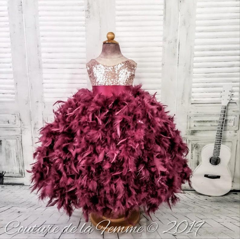 f0174ca12de ROSE GOLD and BURGUNDY Flower Girl Dress Rustic Flower Girl