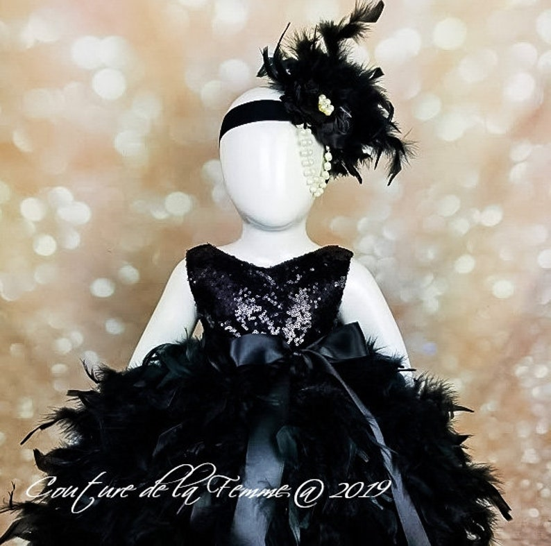 Elegant Black Flower Girl Dress with Sequin Bodice and Black Feathers Weddings Black Flower Girl Dress for Toddlers Black Pageant Dress