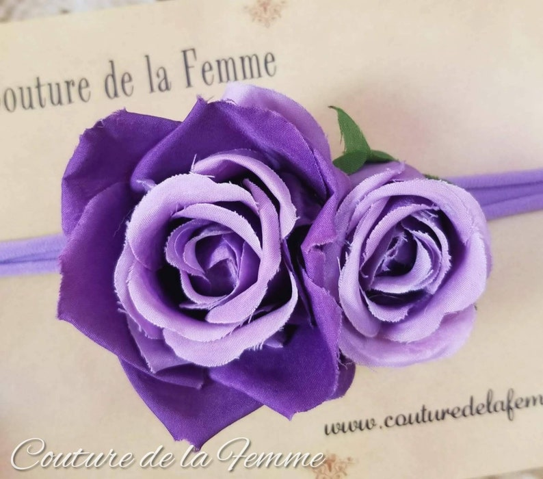 Gorgeous Purple Rose Flower Girl Headband,Baby Girl Flower Headband Girls Floral Headband,Purple Flower Girl Headband,Baby Headband