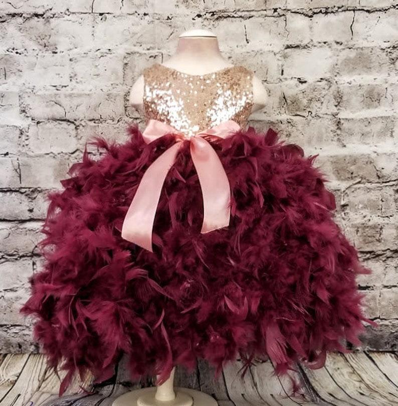 dc578c3a919 Flower Girl Burgundy Rose Gold Ball Gown Dress First