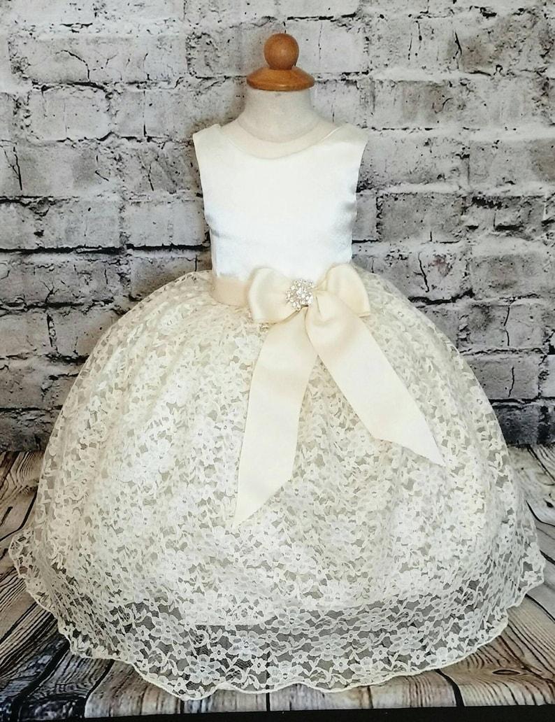 Newborn Infant Dress Girls Ivory Dress Ivory Baptism Dress for Baby Girl Toddler Flower Girl Dress Christening Dress Lace Flower Girl