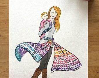 767efd32fd1 Hand Painted Custom Babywearing Portrait (A4 size)