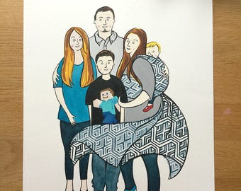 d1f4c332fc1 Hand Painted Custom Babywearing Portrait (A3 size)