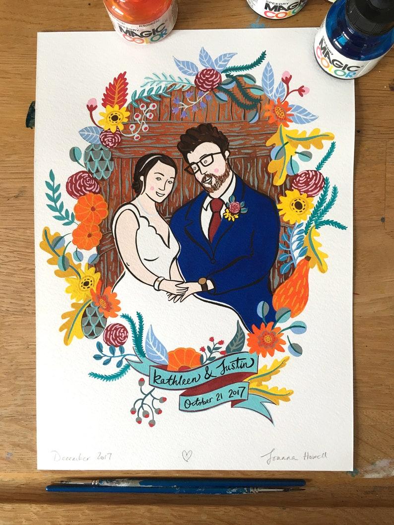 Custom Wedding Portrait; A4 size bespoke and personalised