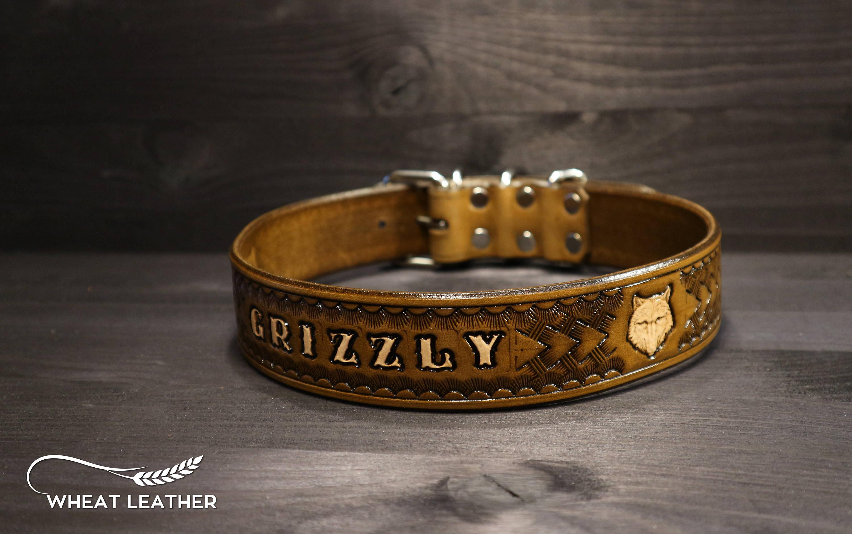 "3//4/"" Mahogany Customized Leather Dog Collars,Dog Collars With Name Medium Dogs"