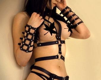 BDSM Harness Bracelet Cuff BDSM Goth Leather Woman Black Bracelet Arm Cage Cuff  Lace Hand Belts Stripped Bracelet