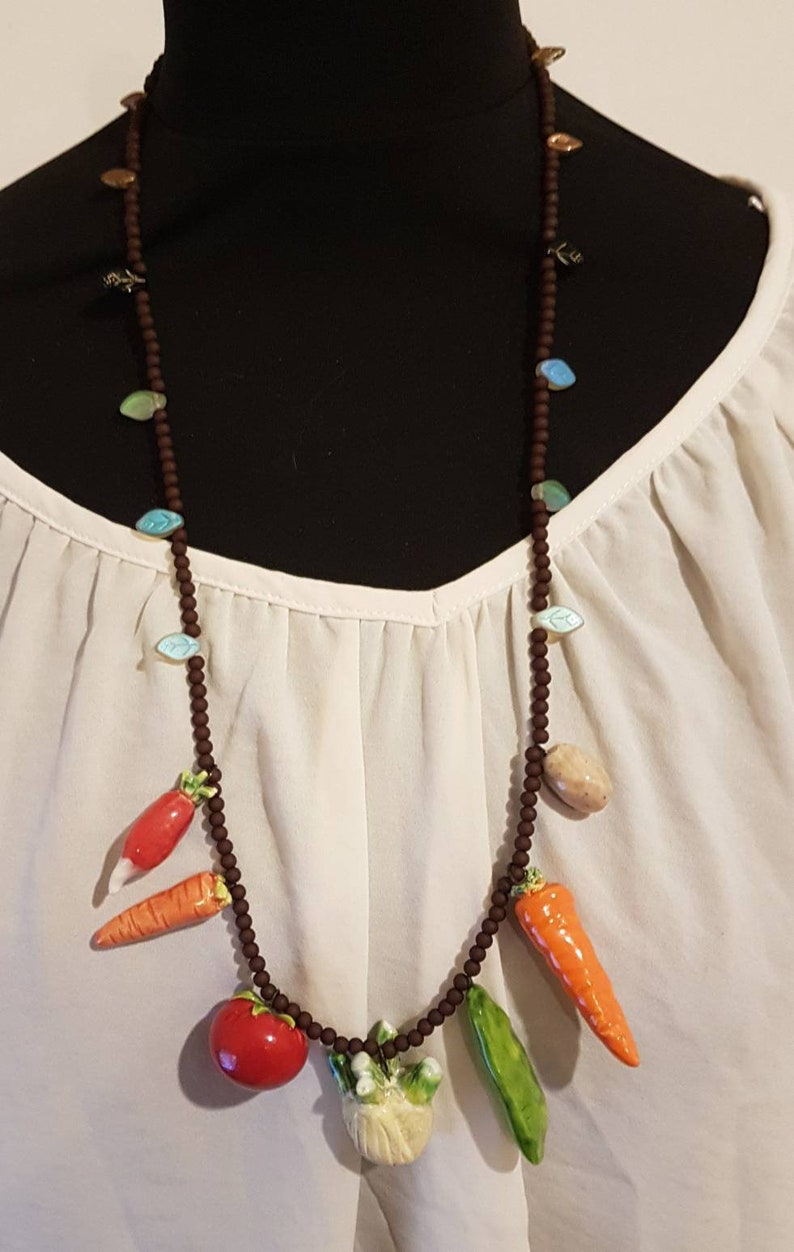 with so vegetables ceramic vegetables Completely crazy necklace