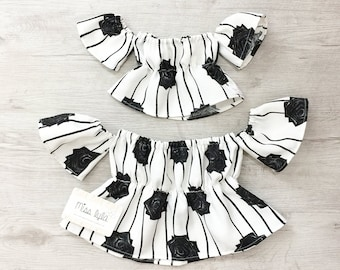 6c6d992215 Black and white top, mommy and me outfits, mommy and me, mommy and me, matching  outfits, mother daughter top, Off the shoulder top, Matchy
