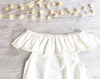 Baby girl Romper, Girls Romper, Cream Romper, Newborn outfit, Coming home outfit, Boho romper, Baby shower gift,baby girl Gift,Summer outfit