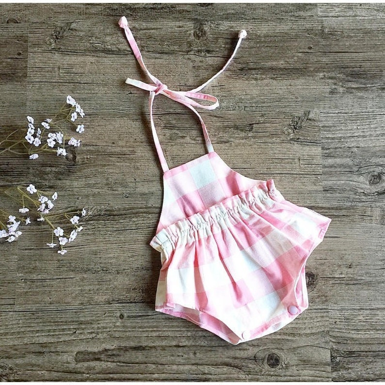 60d3917dccb8 Baby pink outfit Baby girl romper Bubble romper Playsuit
