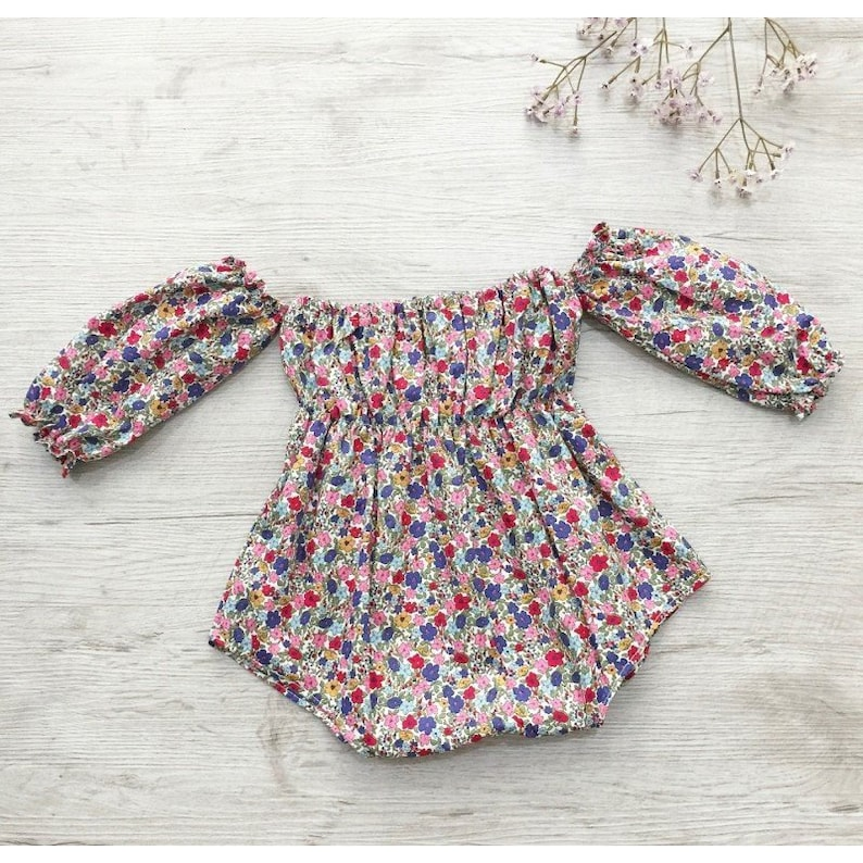35a7ff57ca3 Girls Long sleeve romper vintage outfit Baby romper off the