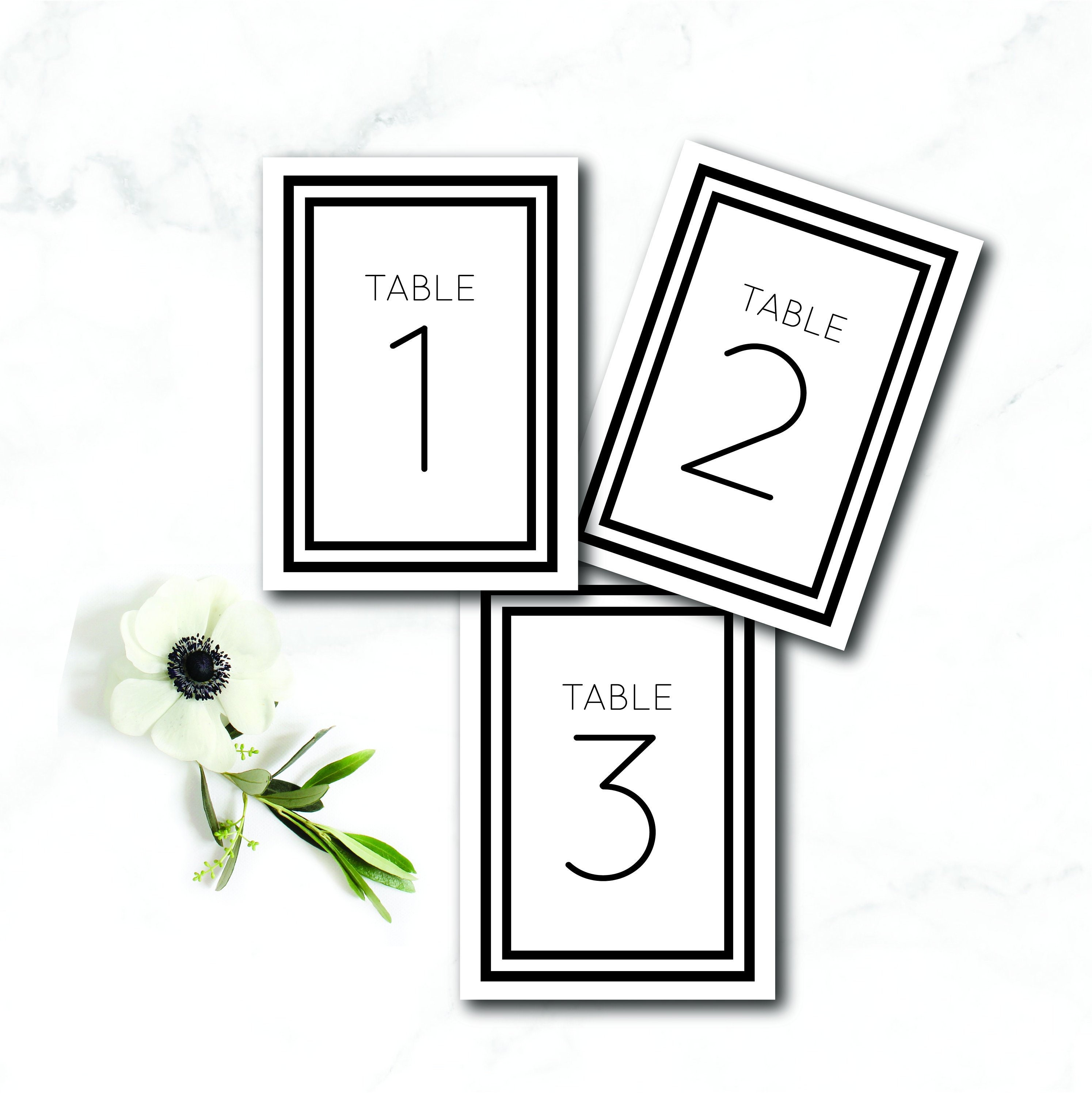 Table Number Template Table Numbers Printable Table Numbers Etsy
