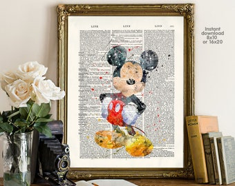 Mickey Poster - mickey wall art - Mickey birthday - Wall art, Poster Dictionary art, Dictionary Art - Print Wall Decor, Nursery Wall Art
