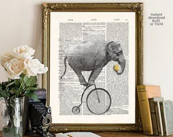 Elephant poster  - bar decor - living room decor -  Poster Dictionary art, hipster Art - Print Wall Decor, Nursery Wall Art