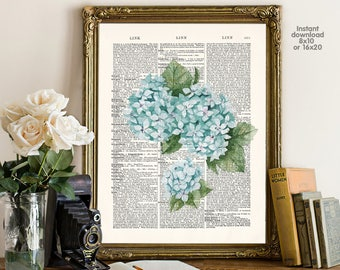 Flower decor - home decor - hydrangea Poster -  Wall art, Poster Dictionary art, Dictionary Art - Print Wall Decor, Nursery Wall Art