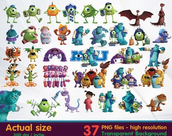 monster University clipart -  Digital 300 DPI PNG Images, Photos, Scrapbook, Cliparts - Instant Download
