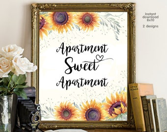 Apartment Sweet, floral office decor typography inspirational wall decor quote printable, Motivational Wall Art
