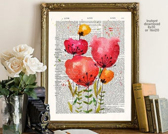 Flower poster - home decor - wall Poster -  Wall art, Poster Dictionary art, Dictionary Art - Print Wall art
