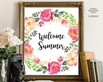 Welcome Summer, floral office decor typography inspirational wall decor, Motivational Wall Art
