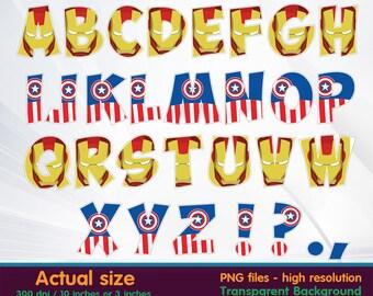 Superhero alphabet - superhero birthday - Superhero letter - Iron man - Captain American- Clipart Digital 300 DPI PNG - Instant Download