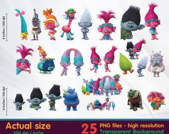 Trolls Clipart -  Digital 300 DPI PNG Images, Photos, Scrapbook, Cliparts - Instant Download