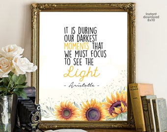 It is during our darkest, floral office decor typography inspirational wall decor quote printable, Motivational Wall Art