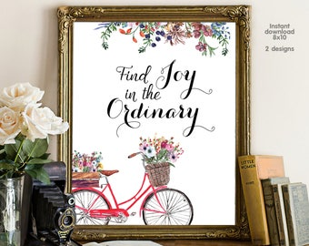 Find Joy in the Ordinary, floral office decor typography inspirational wall decor quote printable, Motivational Wall Art