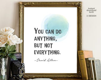 You can do anything but not everything , floral office decor typography inspirational wall decor quote printable, Motivational Wall Art