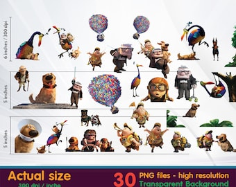 Up Movie clipart -  Digital 300 DPI PNG Images, Photos, Scrapbook, Cliparts - Instant Download