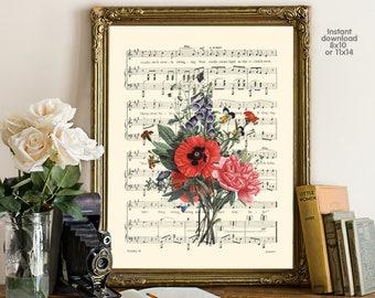 Flower poster - Creative decor - romance decor -  Poster Dictionary art, Dictionary Art - Print Wall Decor, Nursery Wall Art