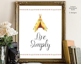 Live Simply, bedroom decor, livingroom decor, floral decor typography inspirational wall decor, Motivational Wall Art