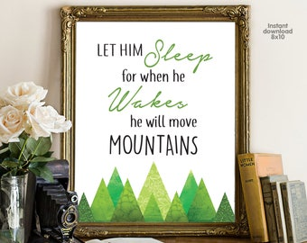 Let Him Sleep For When He Wakes He Will Move Mountains, floral office decor typography inspirational wall decor, Motivational Wall Art
