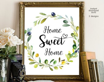 Home sweet home, floral office decor typography inspirational wall decor quote printable, Motivational Wall Art