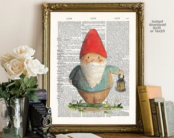 Christmas decor - Xmas decor - Adorable gnome Poster -  Wall art, Poster Dictionary art, Dictionary Art - Print Wall Decor, Nursery Wall Art